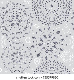 Beautiful seamless pattern with snowflake circle. Vector illustration. Winter background for Christmas or New Year design. Winter motifs