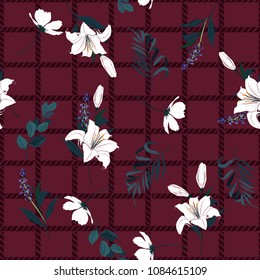 Beautiful seamless pattern spring branch delicate and beautiful white lily blooming flowers vector on hand drawn grid rope check for fashion fabric ,wallpaper on maroon color