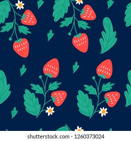 Beautiful seamless pattern with strawberry. Vector illustration.