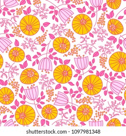 Beautiful seamless pattern with stylized plants. A great template for printing on fabrics, clothes, dishes, packaging, paper and other surfaces.