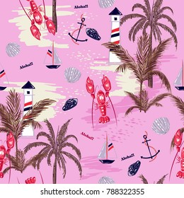 Beautiful Seamless pattern summer tropical island of mediterranean with lobster shell ,lemon,anchor, for fashion fabric,wallpapre,webpage on pink in hand drawn style.