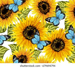 Beautiful Seamless Pattern With Sunflowers Blue Butterflies On White Background Collection Decorative Floral Design Elements