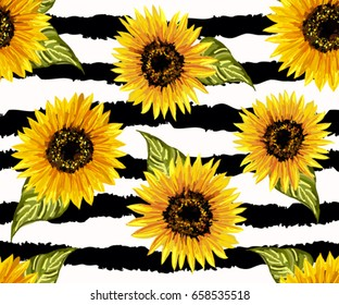 Beautiful seamless pattern with sunflowers on abstract background. Collection decorative floral design elements. Vintage hand drawn vector illustration in watercolor style.