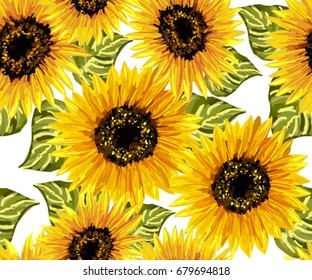 Beautiful seamless pattern with sunflowers on white background. Collection decorative floral design elements. Vintage hand drawn vector illustration in watercolor style.