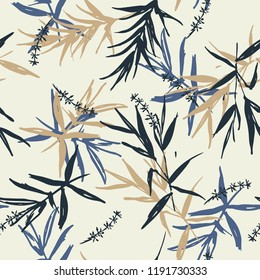 Beautiful Seamless pattern vector of brush blue and beige bamboo leaves  and flower oriental style design for fashion ,fabric, wallpaper on light grey background color