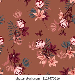 Beautiful  Seamless pattern vector with tulips flowers. Hand drawing illustration with wild floral for fashion, fabric, and all prints on stylish brown background colors.