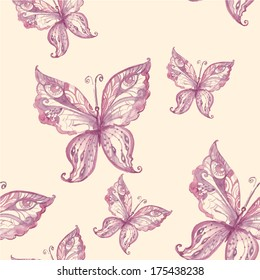 Beautiful seamless pattern of watercolor butterflies.