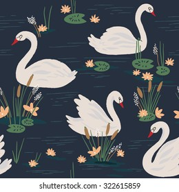 Beautiful seamless pattern with white swans on the lake. Vector illustration