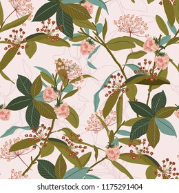 Beautiful seamless patterrn of autumn leaves ,berries,wild flowers,on botanical line background vector design for fashion,fabric,wallpaper and all prints on light pink background color