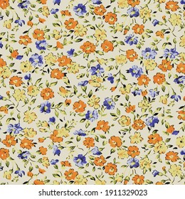 Beautiful seamless raster pattern with simple flowers. Background with decorative floral ornaments for textiles, wrappers, fabrics, clothing, covers, paper, printing, scrapbooking. soft color flower
