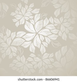 Beautiful seamless silver leaves wallpaper. This image is a vector illustration.