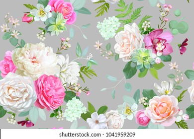 Beautiful seamless spring pattern with roses,peony,orchid and succulents