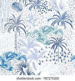 Beautiful seamless tropical forest pattern on white background. Landscape with palm trees,exotic wild and plants vector in hand drawn style.