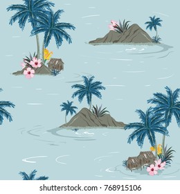 Beautiful seamless tropical island pattern on sky blue background. Landscape with palm trees,beach and ocean vector hand drawn style.