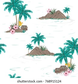 Beautiful seamless tropical island pattern on white background. Landscape with palm trees,beach and ocean vector hand drawn style.