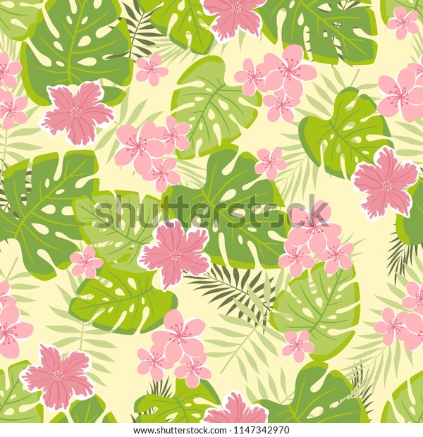 beautiful seamless tropical pattern with palm leaves and exotic flowers, floral background, floral wallpapers vivid colors