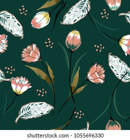 Beautiful Seamless vector background with colorful pink tulips. Hand drawn illustration with hand painting brush vector in stylish dark green background