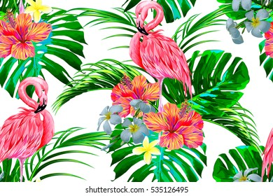 Beautiful seamless vector floral exotic pattern with tropical flowers, palm leaves, jungle plants, hibiscus, bird of paradise flower, pink flamingos. Hawaiian background