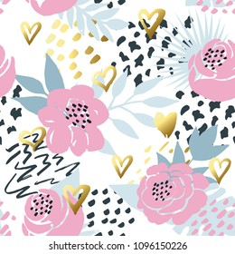 Beautiful seamless vector floral pattern background with gold hand-drawn hearts. Perfect for wallpapers, web page backgrounds, surface textures, textile and other design.