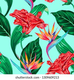 Beautiful seamless vector floral pattern background with exotic flowers, tropical leaves, jungle leaf, hibiscus, bird of paradise flower. Botanical colorful wallpaper illustration, Hawaiian style