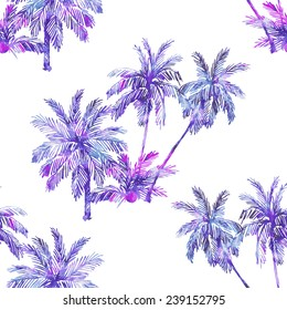 Beautiful seamless vector floral pattern background. Watercolor palm trees