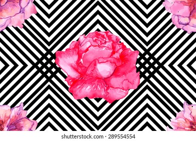 Beautiful seamless vector floral pattern background with pink flowers, roses. Abstract stripped geometric black and white texture