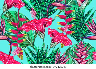 Beautiful seamless vector floral pattern background. Tropical flowers, palm leaves, jungle leaves, plants, hibiscus, bird of paradise flower, exotic print