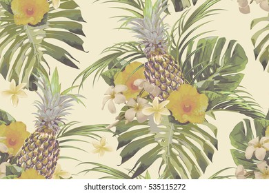 Beautiful seamless vector floral pattern background with tropical flowers, pineapples, palm leaves, jungle leaf, monstera, hibiscus. Exotic vintage wallpaper
