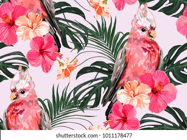 Beautiful seamless vector floral summer pattern background with galah parrot, palm leaves, tropical flowers, hibiscus. Perfect for wallpapers, web page backgrounds, surface textures, textile.