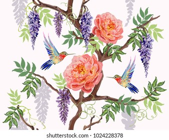 Beautiful seamless vector floral summer pattern background with hummingbird, japanese exotic flowers, peony flowers. Perfect for wallpapers, web page backgrounds, surface textures, textile.