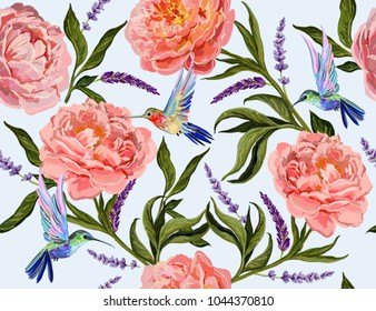 Beautiful seamless vector floral summer pattern background with hand drawn peony flowers, lavender flowers, hummingbirds. Perfect for wallpapers, web page backgrounds, surface textures, textile.