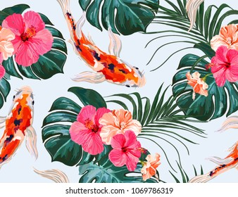 Beautiful seamless vector floral summer pattern background with tropical palm leaves, koi fish, hibiscus. Perfect for wallpapers, web page backgrounds, surface textures, textile.
