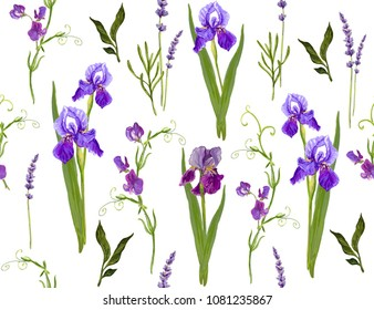 Beautiful seamless vector floral summer pattern background with iris flowers, lavender, sweet pea flowers, tropical flowers. Perfect for wallpapers, web page backgrounds, surface textures, textile.