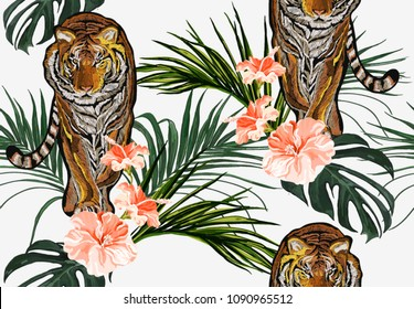 Beautiful seamless vector floral summer pattern background with tropical palm leaves, flamingo, flowers. Perfect for wallpapers, web page backgrounds, surface textures, textile.