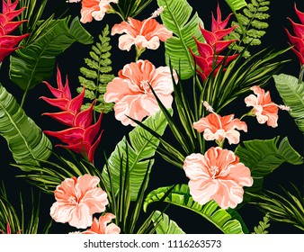 Beautiful seamless vector floral summer pattern background with tropical palm leaves, hibiscus, heliconia. Perfect for wallpapers, web page backgrounds, surface textures, textile.