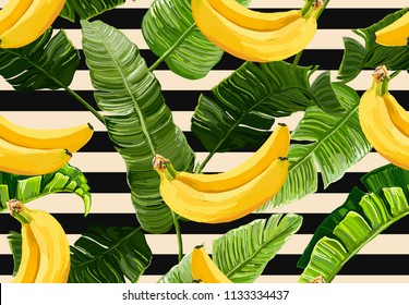 Beautiful seamless vector floral summer pattern with banana leaves and bananas, stripes. Perfect for wallpapers, web page backgrounds, surface textures, textile.