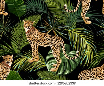 Beautiful seamless vector floral summer pattern background with tropical palm leaves, leopard. Perfect for wallpapers, web page backgrounds, surface textures, textile.