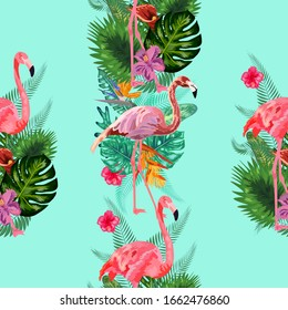 Beautiful seamless vector floral summer pattern background with tropical palm leaves, flamingo, hibiscus