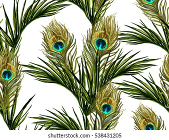 Beautiful seamless vector floral summer pattern background with tropical palm leaves and peacock feathers. Perfect for wallpapers, web page backgrounds, surface textures, textile.