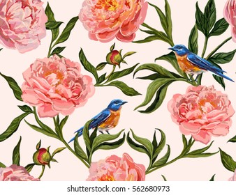 Beautiful seamless vector floral summer pattern background with hand drawn peony flowers and birds. Perfect for wallpapers, web page backgrounds, surface textures, textile.