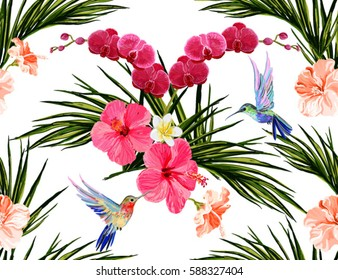 Beautiful seamless vector floral summer pattern background with hummingbird, orchid, palm leaves, hibiscus, tropical flowers. Perfect for wallpapers, web page backgrounds, surface textures, textile.