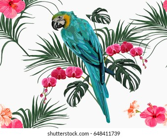 Beautiful seamless vector floral summer pattern background with parrot, tropical palm leaves, orchid, hibiscus. Perfect for wallpapers, web page backgrounds, surface textures, textile.