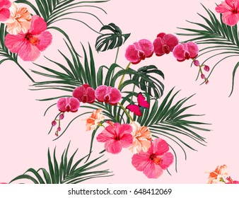Beautiful seamless vector floral summer pattern background with tropical palm leaves, orchid, hibiscus. Perfect for wallpapers, web page backgrounds, surface textures, textile.
