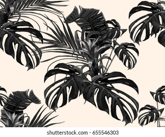 Beautiful seamless vector floral summer pattern background with tropical palm  leaves. Perfect for wallpapers, web page backgrounds, surface textures, textile.