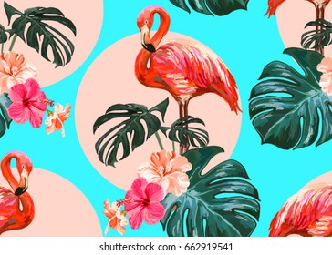 Beautiful seamless vector floral summer pattern background with tropical palm leaves, flamingo, hibiscus. Perfect for wallpapers, web page backgrounds, surface textures, textile.