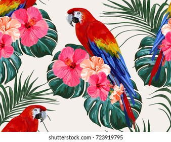 Beautiful seamless vector floral summer pattern background with tropical palm leaves, parrot ara, hibiscus. Perfect for wallpapers, web page backgrounds, surface textures, textile.