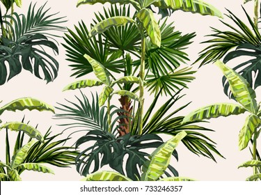 Beautiful seamless vector floral summer pattern with palm trees, banana palm tree, coconut palm leaves. Perfect for wallpapers, web page backgrounds, surface textures, textile.