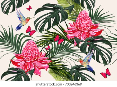 Beautiful seamless vector floral summer pattern background with hummingbird, palm leaves, butterflies, tropical flowers. Perfect for wallpapers, web page backgrounds, surface textures, textile.