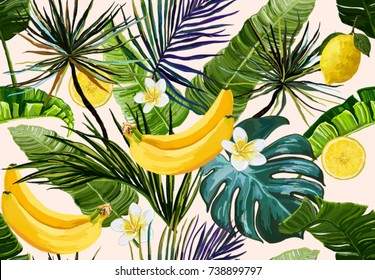 Beautiful seamless vector floral summer pattern background with tropical palm leaves,  flowers, banana, lemon. Perfect for wallpapers, web page backgrounds, surface textures, textile.