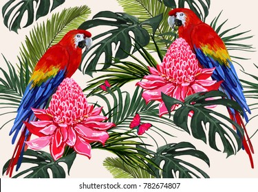Beautiful seamless vector floral summer pattern background with tropical palm leaves, parrot ara, hibiscus, butterfly. Perfect for wallpapers, web page backgrounds, surface textures, textile.